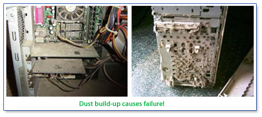 Dust build-up causes computer failures.